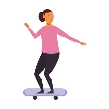 Woman riding on skateboard isolated cartoon vector illustration graphic design Çizim