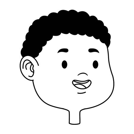 Cute young and afroamerican boy smiling face head cartoons ,vector illustration graphic design. Stock Illustratie