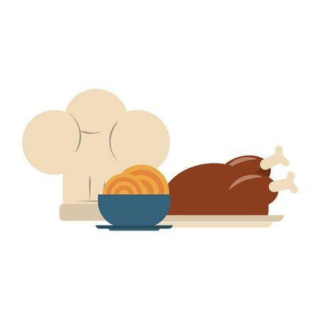restaurant nourriture et cuisine poulet rôti, bol avec spaguetties et icône de chapeau de chef dessins animés vector illustration graphisme Vecteurs
