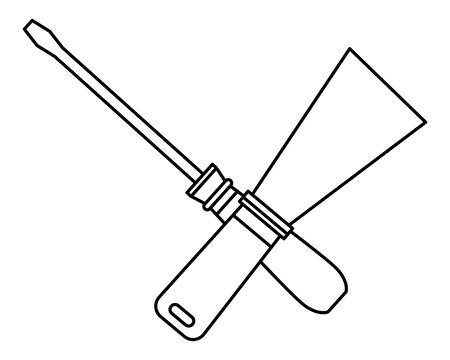 Construction tools spatula and screwdriver crossed cartoon symbol vector illustration graphic design.