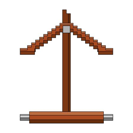videogame pixelated retro art digital entertainment, wooden obstacle isolated cartoon vector illustration graphic design
