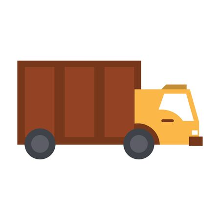 Delivery cargo truck sideview symbol isolated vector illustration graphic design Stock Vector - 129586367