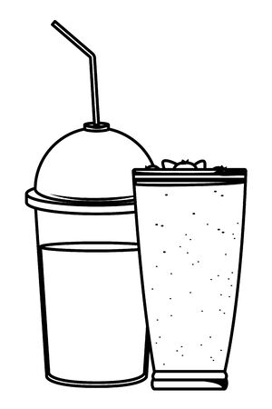 fruit tropical smoothie drink with dome lid, large glass and straw icon cartoon in black and white vector illustration graphic design