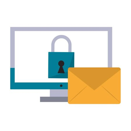 computer with padlock and envelope icon cartoon vector illustration graphic design