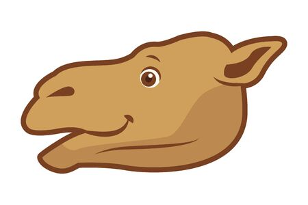Camel animal head cartoon isolated sideview vector illustration graphic design