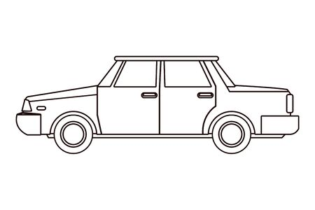 Vintage classic sedan car vehicle in black and white vector illustration graphic design.