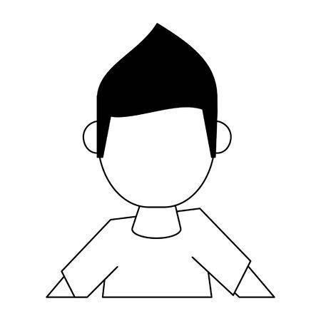 man avatar cartoon character portrait isolated, faceless vector illustration graphic design 일러스트