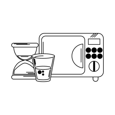 microwave water cup and hourglass vector illustration graphic design Иллюстрация