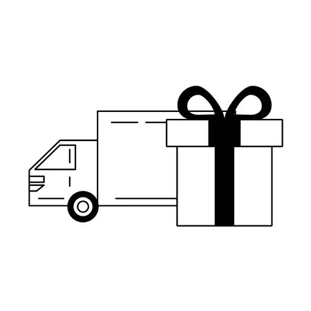 Delivery truck with gift wrapped in a box with ribbon vector illustration graphic design