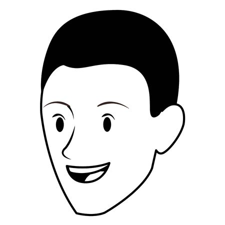 afroamerican man face avatar cartoon character in black and white vector illustration graphic design