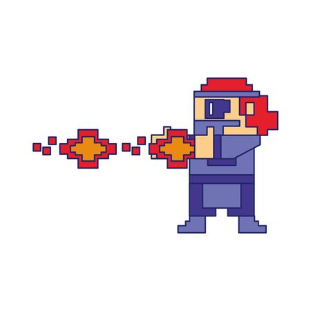Videogame pixelated gangster shooting with handgun isolated vector illustration graphic design 向量圖像