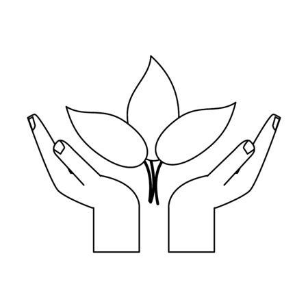 hands protecting leaves plant symbol vector illustration graphic design Stock Illustratie