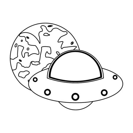 UFO flying around moon vector illustration graphic design Çizim