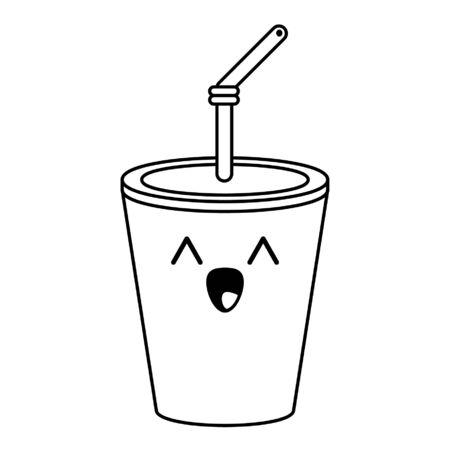 Soda cup cute kawaii cartoon vector illustration graphic design Illustration