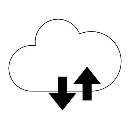 Cloud computing upload and download symbol vector illustration graphic design