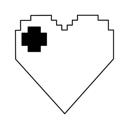 arcade game character heart vector illustration graphic design
