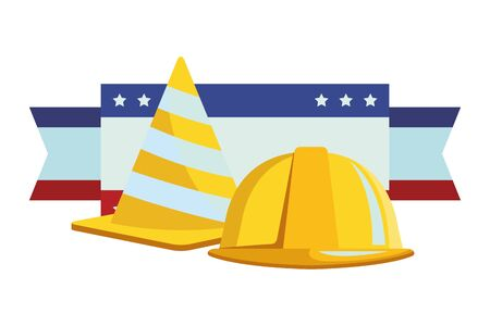 Construction tools and equipment traffic cone and helmet cartoons ,vector illustration graphic design.