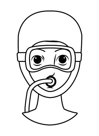 woman with snorkel diving avatar cartoon character in black and white vector illustration graphic design 向量圖像