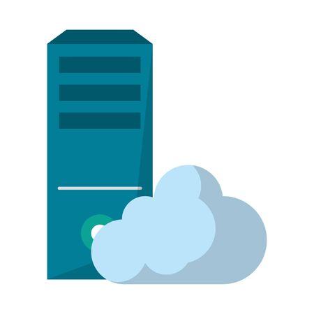 computer and cloud icon cartoon isolated vector illustration graphic design
