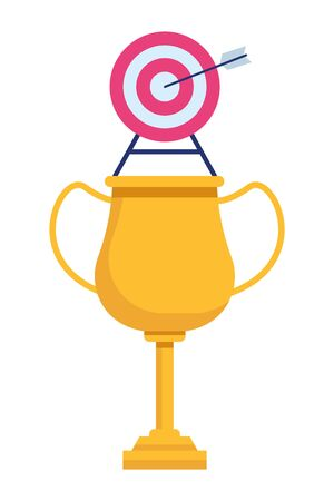 trophy cup award with target and a arrow in the middle icon cartoon Archivio Fotografico - 129661563