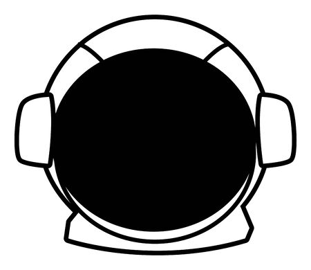 space exploration astronaut helmet in black and white icon cartoon vector illustration graphic design