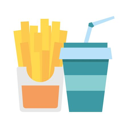 Fast food french fries and soda cup with straw vector illustration graphic design