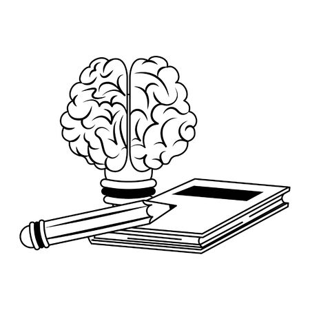 Brain bulb light and book with pencils cartoons vector illustration graphic design