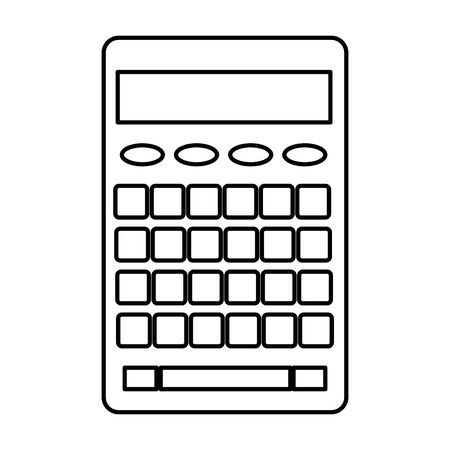 calculator on white background icon cartoon isolated in black and white vector illustration graphic design Stock Illustratie