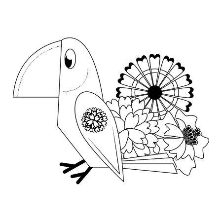 Mexico ethnic bird and flowers cartoons vector illustration graphic design