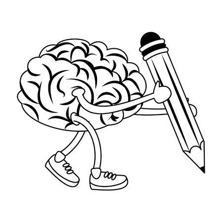 Brain with shoes holding pencil cartoons vector illustration graphic design Ilustração