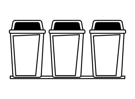 three garbage can icon cartoon in black and white vector illustration graphic design  イラスト・ベクター素材