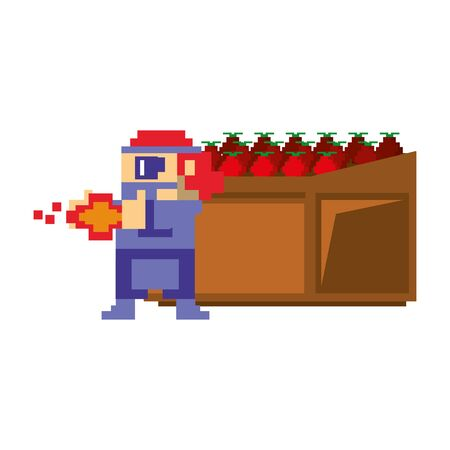 Videogame pixelated gangster character shooting and tomatos in shelf isolated vector illustration graphic design 向量圖像