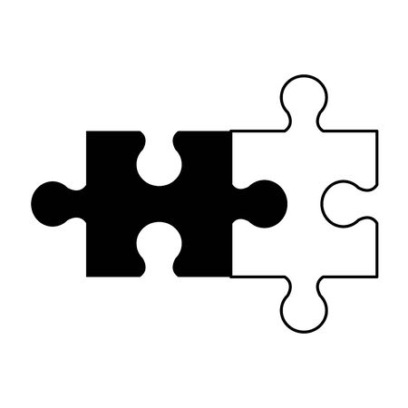 puzzle game cartoon vector illustration graphic design in black and white