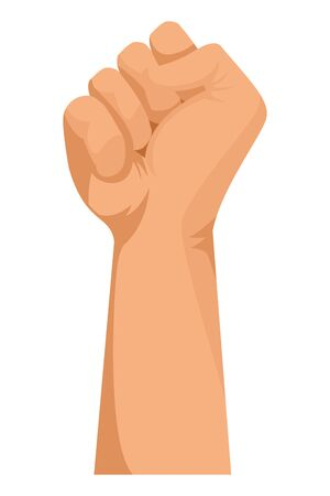 Hand clenched fist sign cartoon vector illustration graphic design. Ilustração
