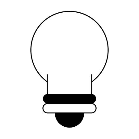 light bulb idea cartoon vector illustration graphic design in black and white Ilustração