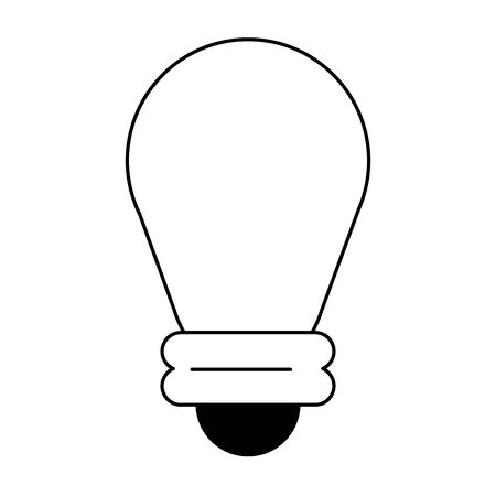 lightbulb idea cartoon vector illustration graphic design in black and white Ilustração