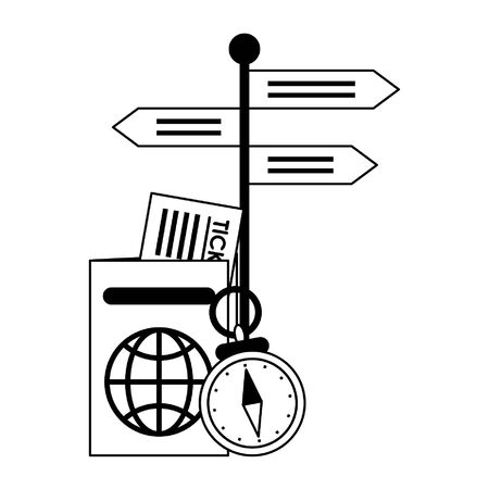 Travel and vacations symbols passport with tickets navigation compass and signpost vector illustration graphic design  イラスト・ベクター素材