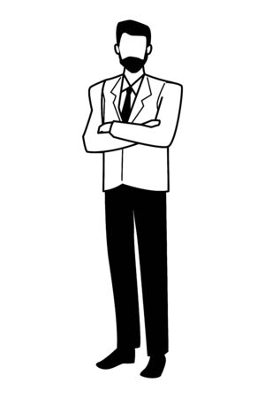 Executive businessman with arms crossed ,vector illustration graphic design.