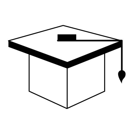 knowledge education element graduation hat cartoon vector illustration graphic design in black and white
