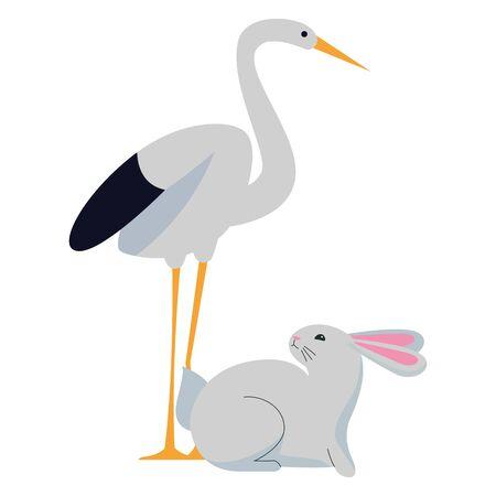 Stork bird and rabbit animals cartoons ,vector illustration graphic design. Stock Illustratie