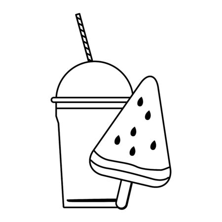delicious ice lolly icon cartoon and frozen ice shaved icon cartoon  in black and white vector illustration graphic design Çizim