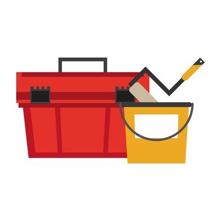 Construction tools toolbox and paint bucket with rolling pin vector illustration graphic design