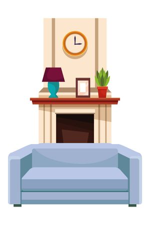 House chimney with sofa armchair furniture vector illustration graphic design