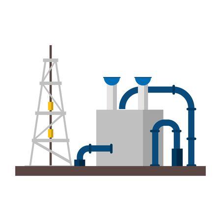 oil refinery gas factory industry petrochemical petroleum oil rig plant with destillation tank cartoon vector illustration graphic design Stock Illustratie