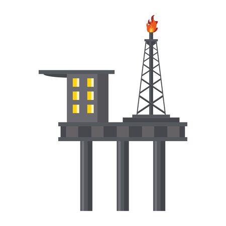Petroleum oil refinery plant with machinery plataform vector illustration graphic design Stock Illustratie