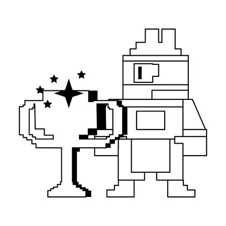 Videogame pixelated character with trophy cup vector illustration graphic design Ilustracja