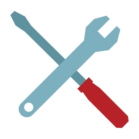 construction heavy work tools wrench with screwdriver cartoon vector illustration graphic design Foto de archivo - 129790449