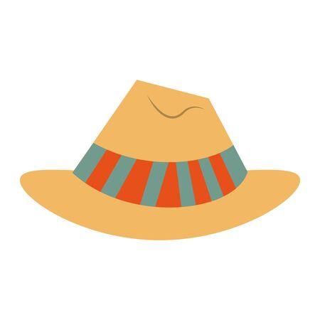 summer hat for travelers symbol isolated Vector design illustration  イラスト・ベクター素材