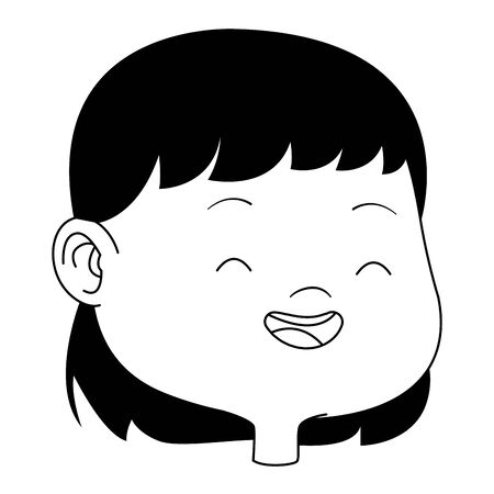 Beautiful girl kid smiling face and head cartoon vector illustration graphic design.