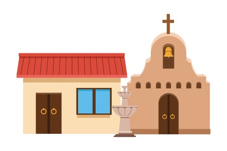 mexican traditional culture with traditional mexican house building, traditional mexican church and water fountain icon cartoon vector illustration graphic design